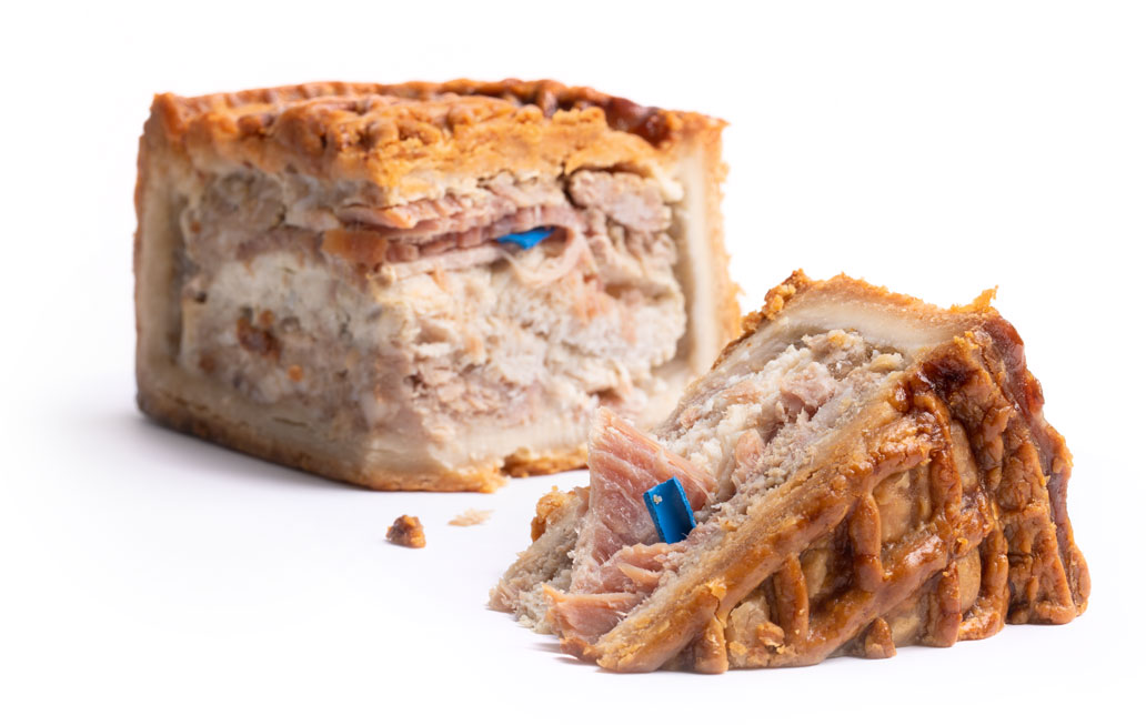 Pork Pie With Detectable Polymer Inside